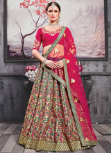 Turquoise Green N Pink Embroidered A Line Lehenga