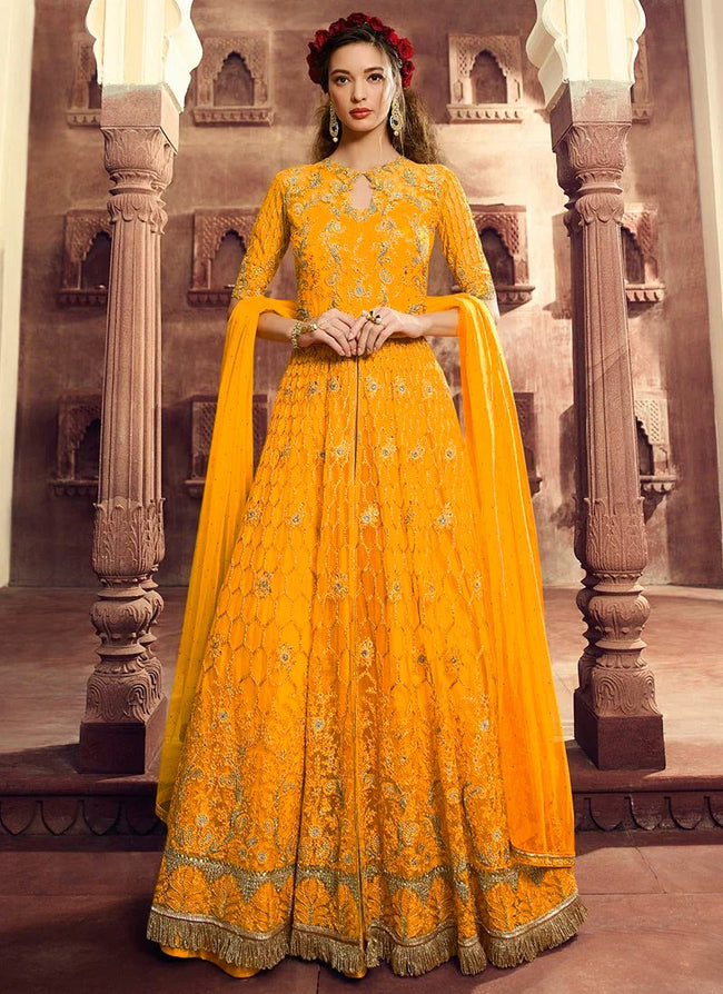 Yellow Embroidered Net A Line Lehenga