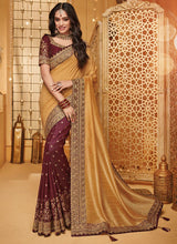 Beige N Brown Georgette Embroidered Saree