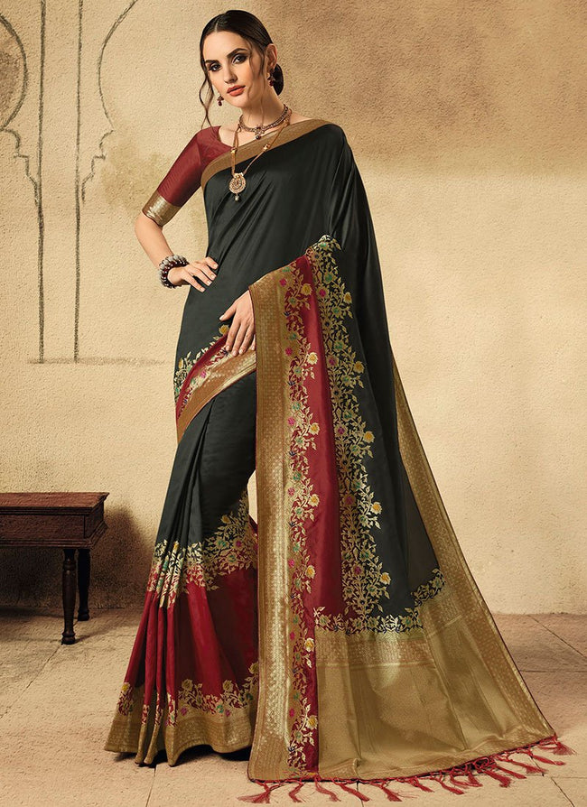 Black Art Silk Banarasi Saree