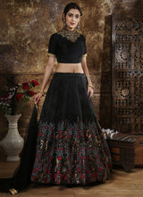 Black Embroidered A Line Lehenga