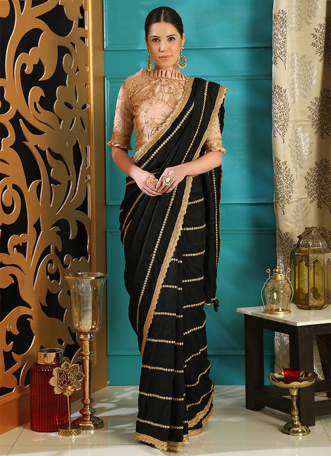 Black Embroidered Saree