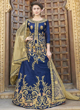 Blue Art Silk Embroidered A Line Lehenga