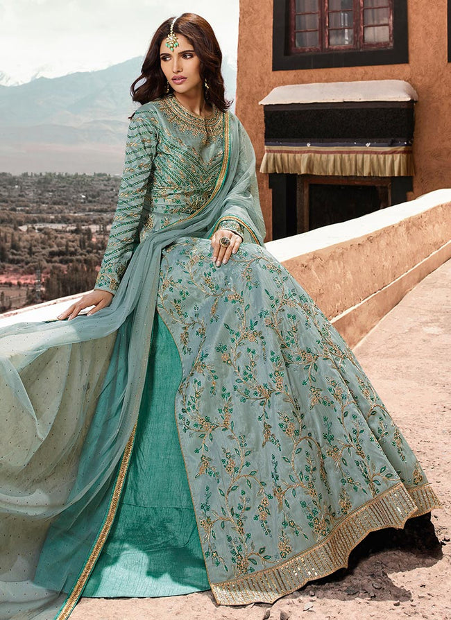Blue Embroidered A Line Anarkali Lehenga