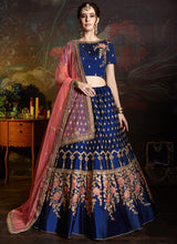 Blue Embroidered A Line Lehenga