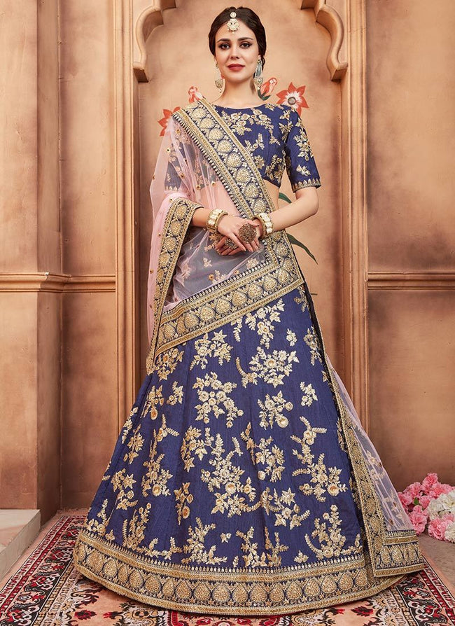 Blue Sequins Embroidered A Line Lehenga
