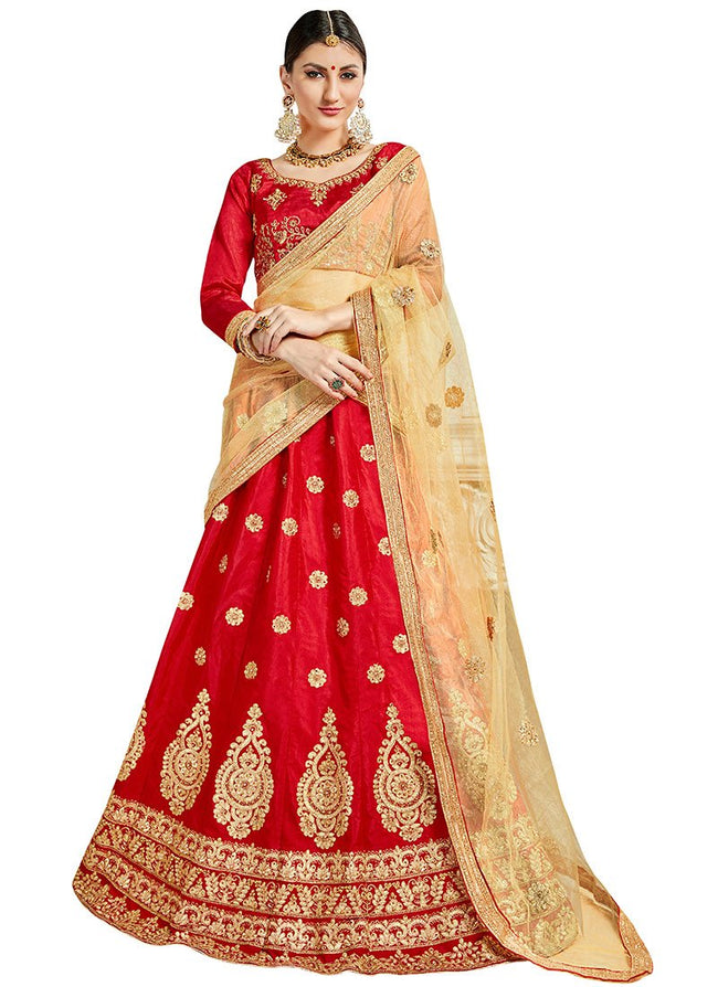 Bright Red Art Silk Embroidered A Line Lehenga
