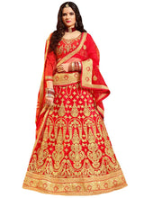 Bright Red Embroidered A Line Lehenga