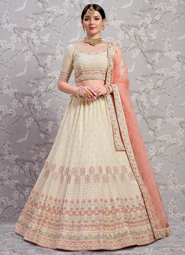 Cream Embroidered A Line Lehenga