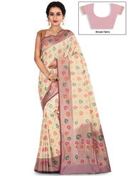 Cream Zari Pure Silk Saree