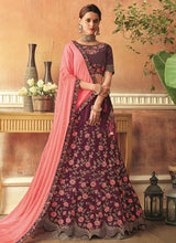 Dark Magenta Embroidered Umbrella Lehenga