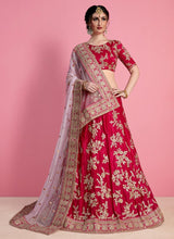 Dark Pink Embroidered A Line Lehenga