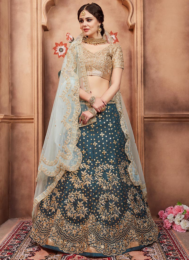 Dark Teal Sequins Embroidered A Line Lehenga