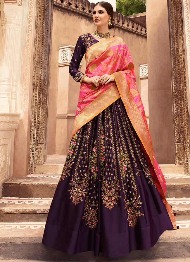 Dark Violet Embroidered Umbrella Lehenga