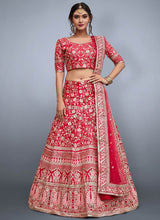 Fuschia Pink Embroidered A Line Lehenga