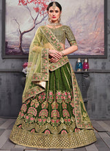 Green Embroidered A Line Lehenga