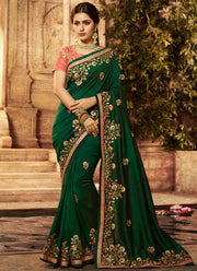 Green Embroidered Art Silk Saree