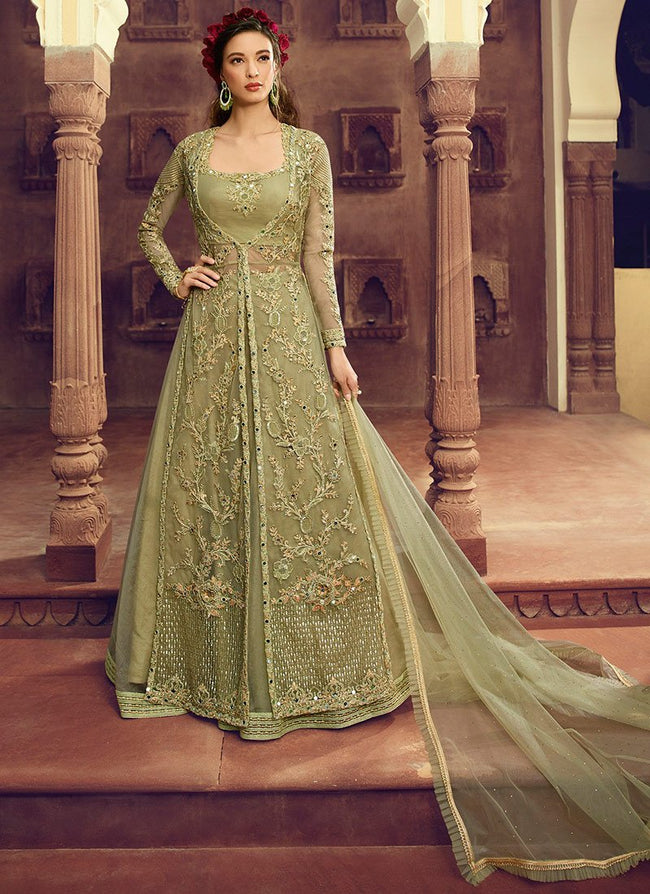 Green Embroidered Net A Line Lehenga