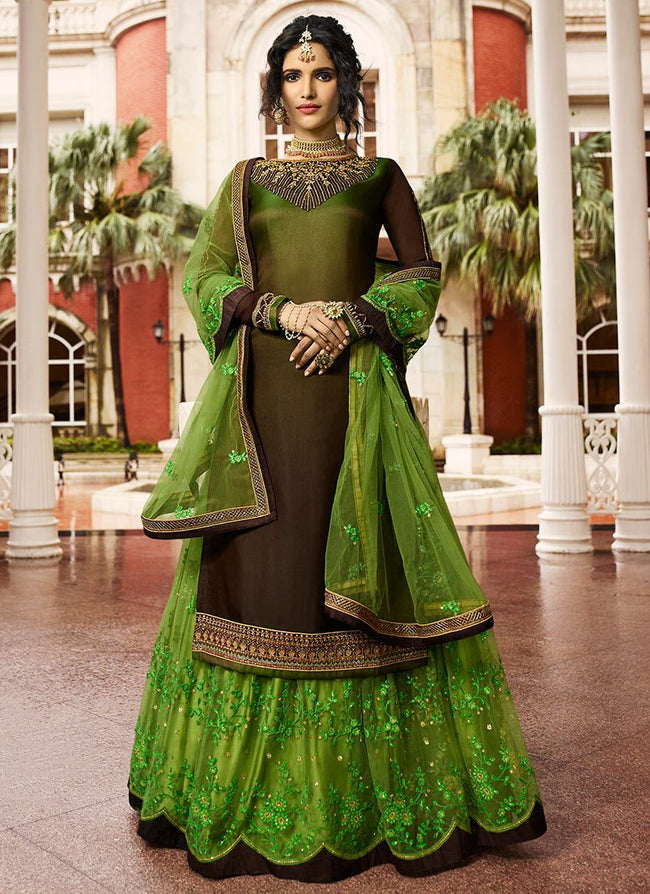 Green N Brown Embroidered Long Choli Lehenga