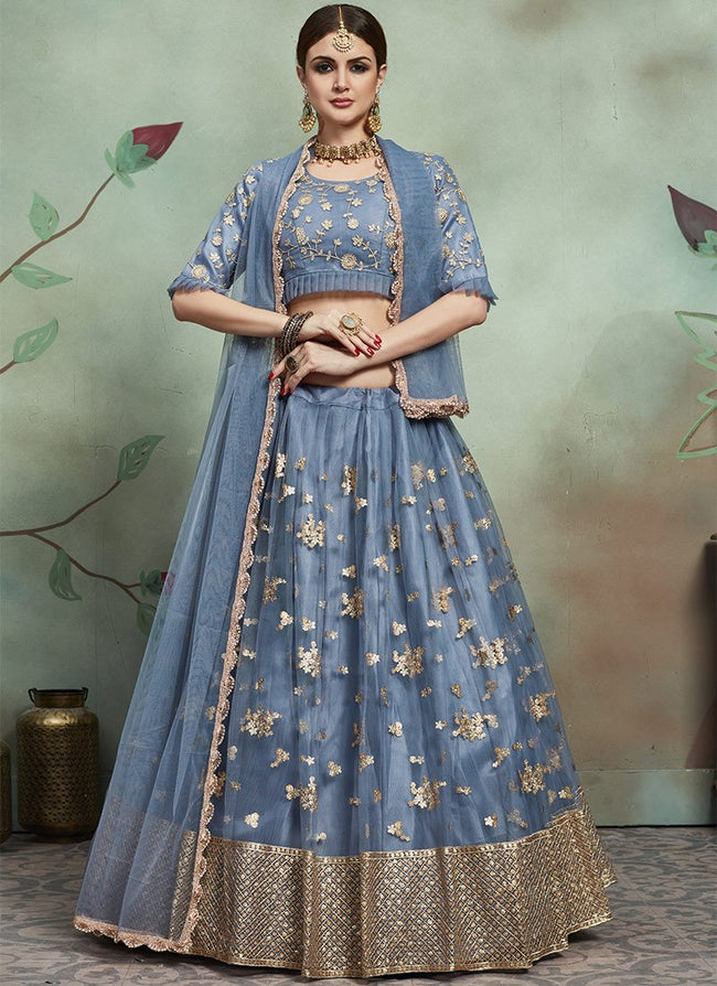 Grey Embroidered A Line Lehenga