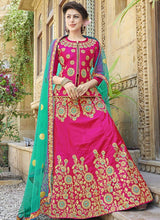 Hot Pink Art Silk Embroidered A Line Lehenga