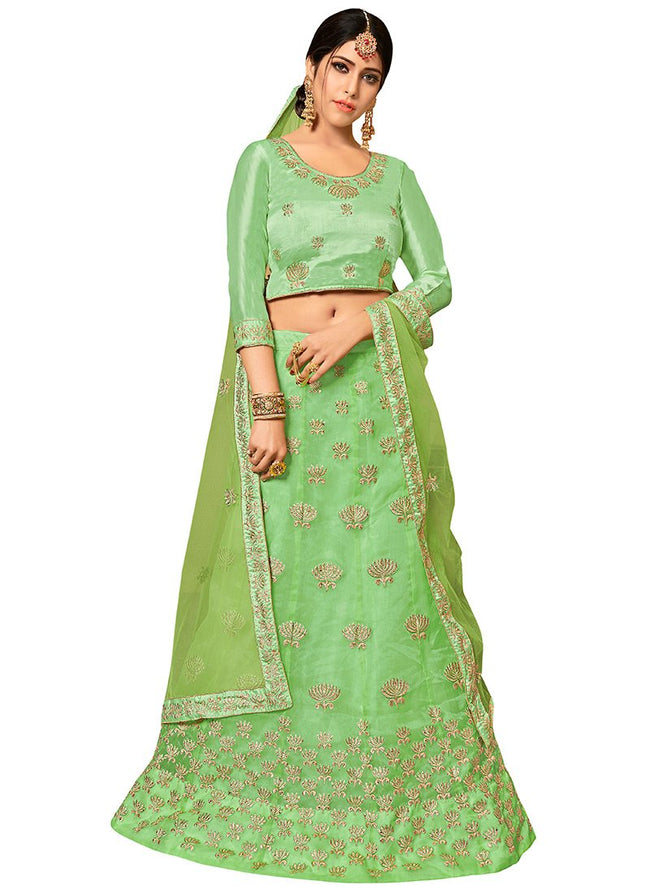 Light Green Embroidered A Line Lehenga
