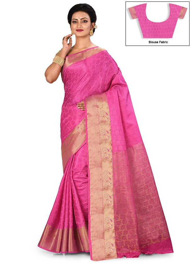 Light Pink Art Silk Kancheepuram Saree