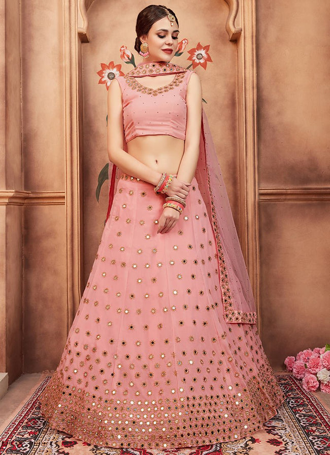 Light Pink Embroidered A Line Lehenga
