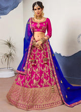 Magenta Embroidered Umbrella Lehenga