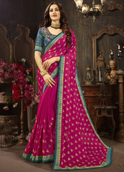 Magenta Printed Saree