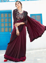 Maroon Lycra Ruffled Saree
