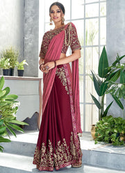 Maroon N Mauve Embroidered Ready Pleated Saree