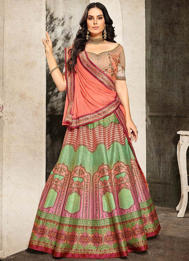 Multicolored Art Silk A Line Lehenga