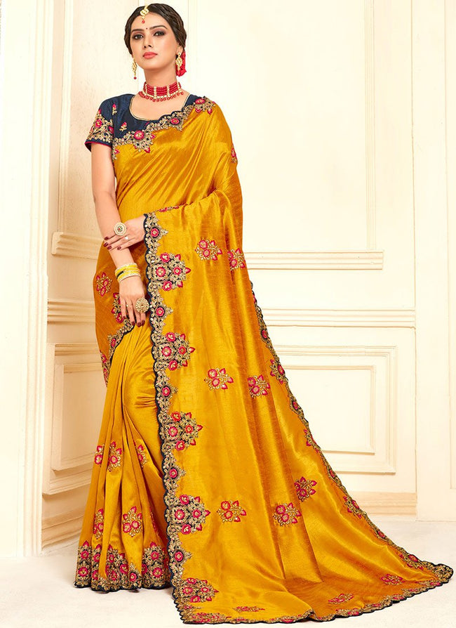 Mustard Art Silk Saree