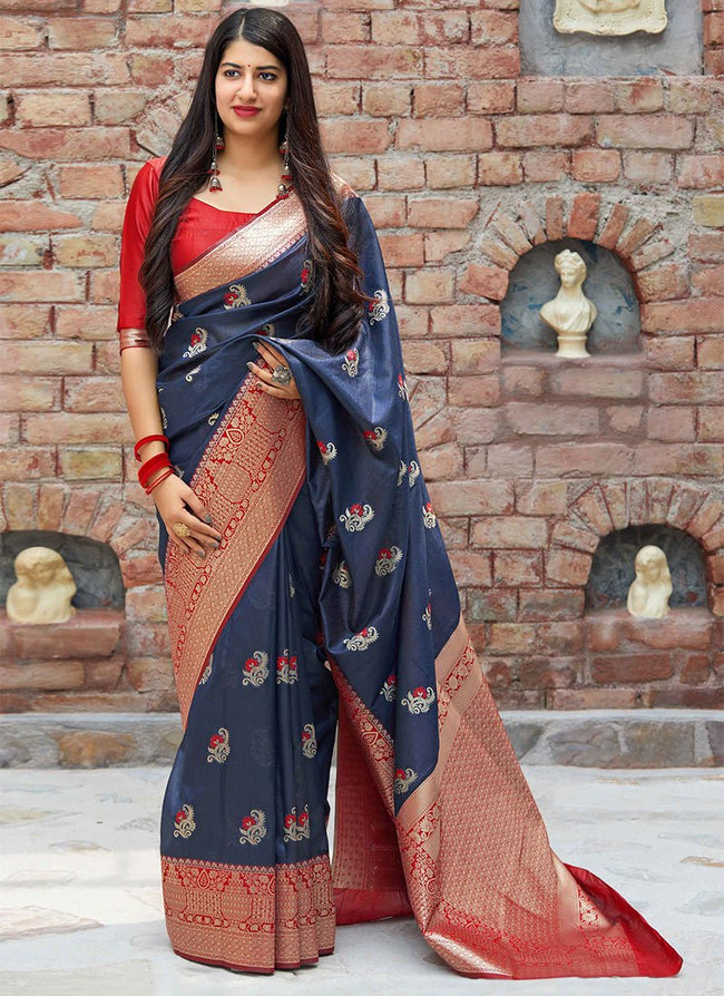 Navy Blue Banarasi Art Silk Saree