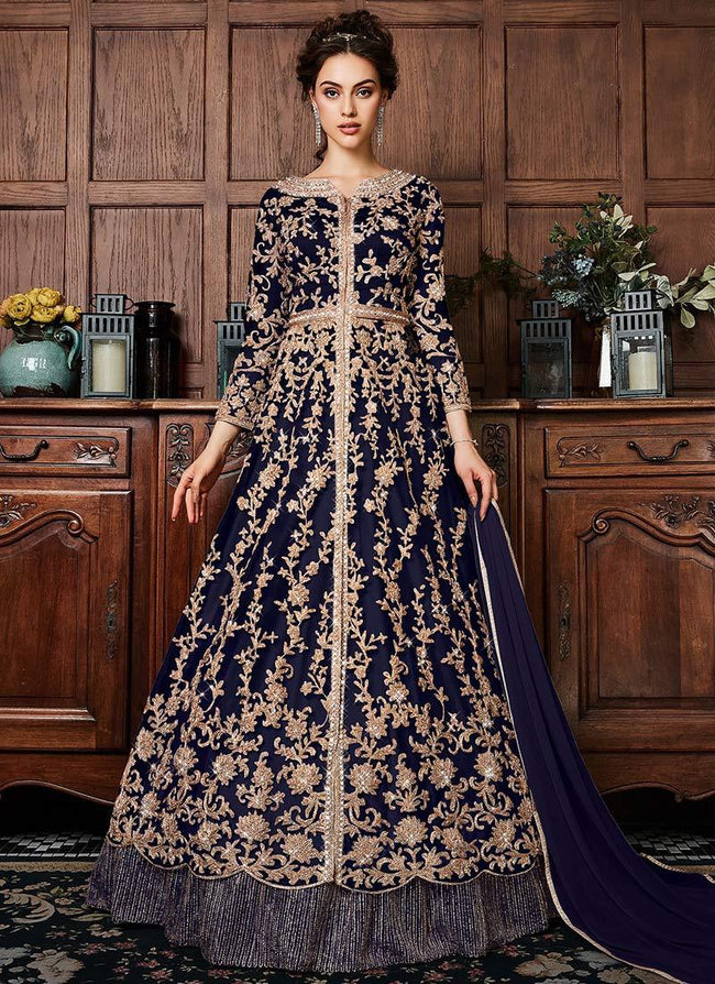 Navy Blue Embroidered A Line Lehenga