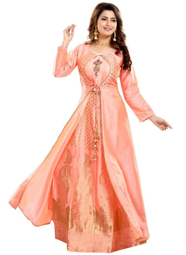 Peach Art Silk A Line Lehenga