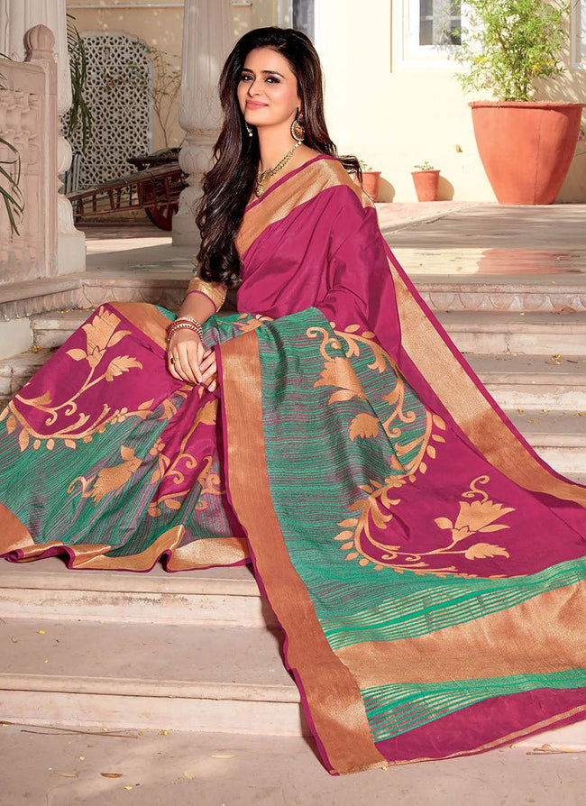 Pink Art Silk Jacquard Saree