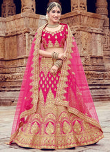 Pink Embroidered A Line Lehenga