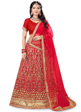 Red Embroidered A Line Lehenga