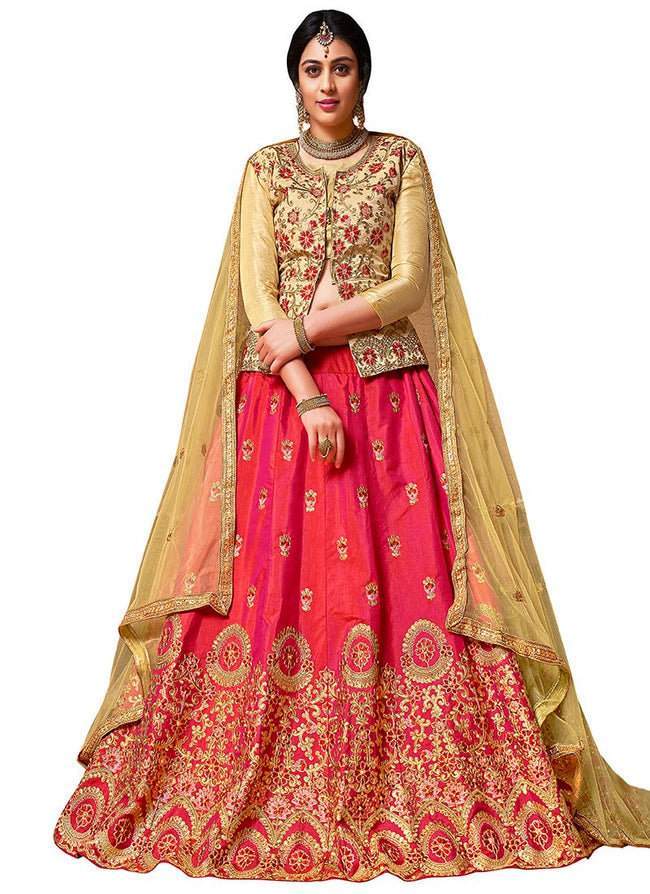 Red N Pink Dual Tone Embroidered A Line Lehenga