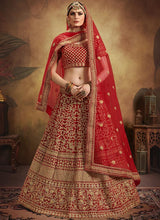 Red Velvet Embroidered A Line Lehenga