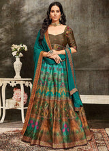 Teal Blue Art Silk A Line Lehenga