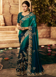 Teal Blue Embroidered Art Silk Saree