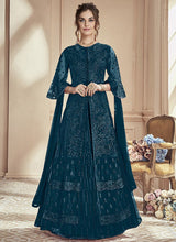 Teal Blue Net Long Choli A Line Lehenga