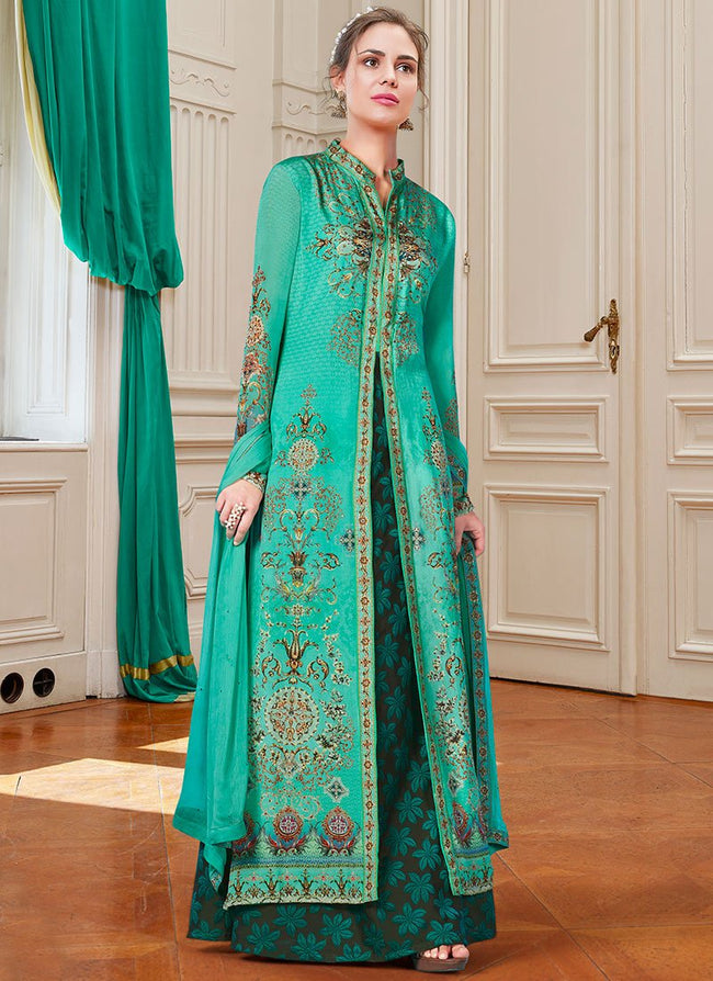 Teal Digital Printed A Line Lehenga