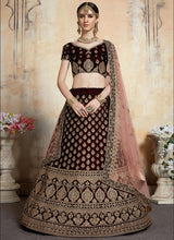 Wine Embroidered A Line Lehenga
