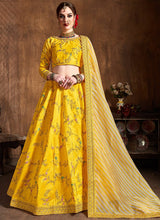 Yellow Art Silk A Line Lehenga