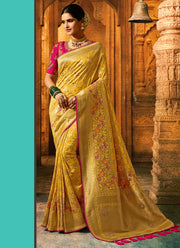 Yellow Banarasi Art Silk Saree
