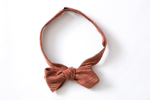 Pointed Bow Tie - Rust Ikat